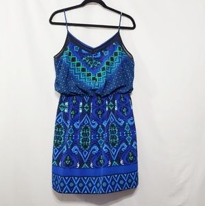 Ikat Print Blue/Green Dress*Express*NWOT*Sz L*